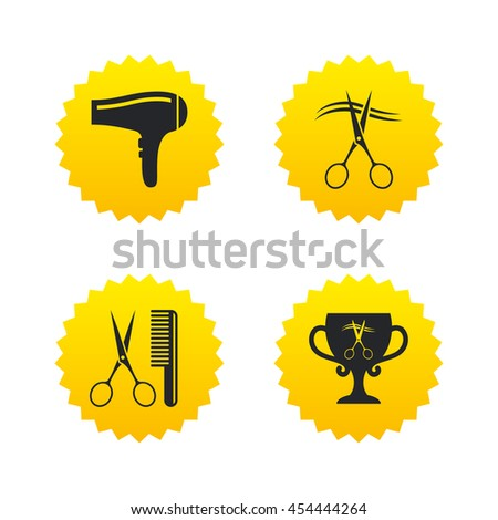 Hairdresser icons. Scissors cut hair symbol. Comb hair with hairdryer symbol. Barbershop winner award cup. Yellow stars labels with flat icons. Vector - stock vector