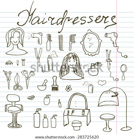 Hairdresser salon and equipment doodles set. Hand-drawn sketch vector illustration, on paper notebook. - stock vector