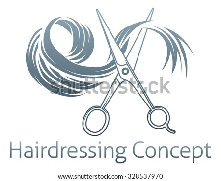 Hairdressing Conceptual icon of a pair of scissors cutting a lock of hair - stock vector