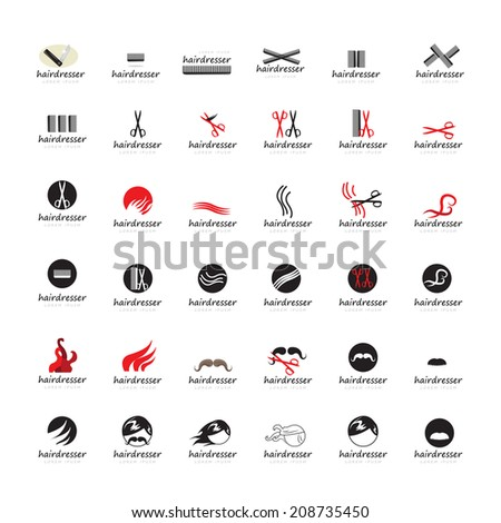 Hairdressing Icons Set - Isolated On White Background - Vector Illustration, Graphic Design Editable For Your Design - stock vector