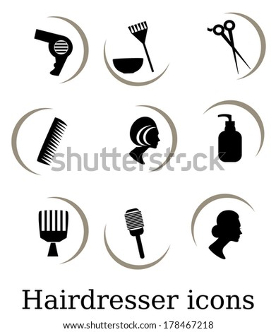 Hairdressing  objects,icons - stock vector
