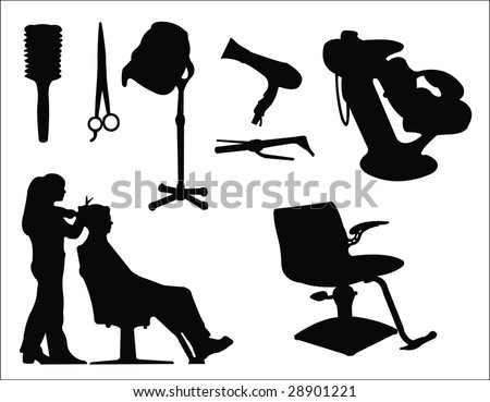 hairdressing salon supplies silhouette - stock vector