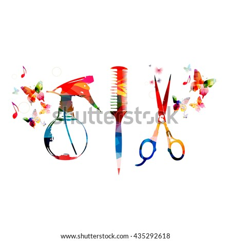 Hairdressing tools background with colorful comb, scissors and sprayer