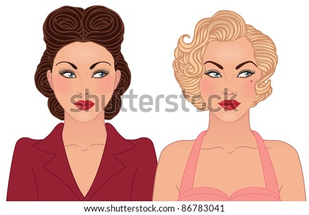 Hairstyle and makeup of decades of the 20th century (1940-1950) - stock vector