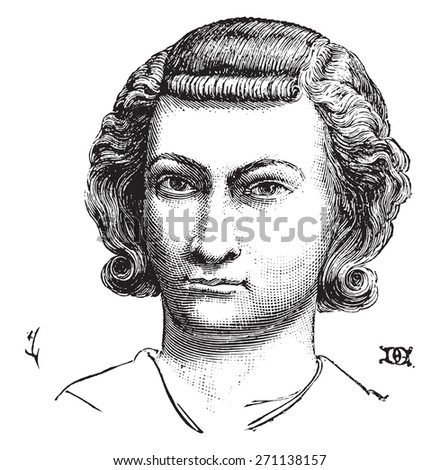 Hairstyle nobles and bourgeois men, vintage engraved illustration. Industrial encyclopedia E.-O. Lami - 1875.