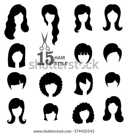 Hairstyle silhouette.Woman,girl,female hair.Beauty Vector,flat black icons.Beautiful  style,avatars,fashion look set.Various hair,haircut,styling.Trendy flat style.Fashion vector,image,look,salon logo