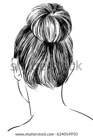 Hairstyles Back View Wo Bun Stock Photo Vector
