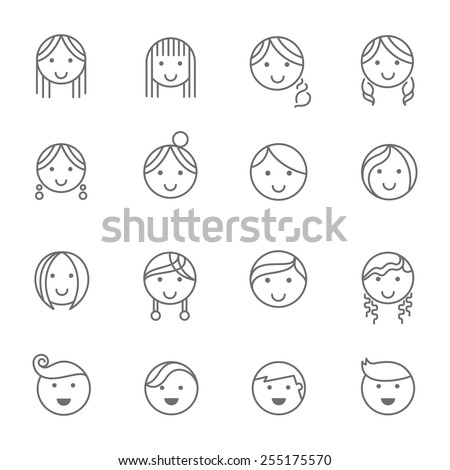 Hairstyles emotions line icons. - stock vector