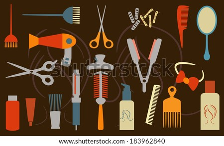 hairstyling objects - stock vector