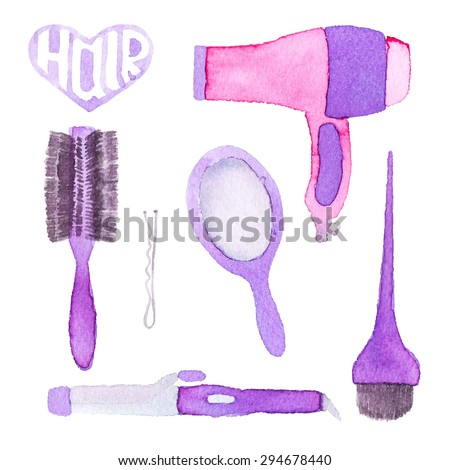 Hairstyling set. Hand-drawn tools. Real watercolor drawing. Vector illustration. Traced painting - stock vector