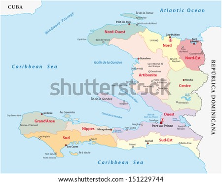 haiti administrative map - stock vector