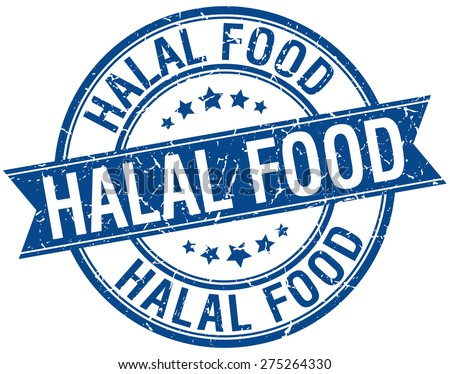 halal food grunge retro blue isolated ribbon stamp - stock vector