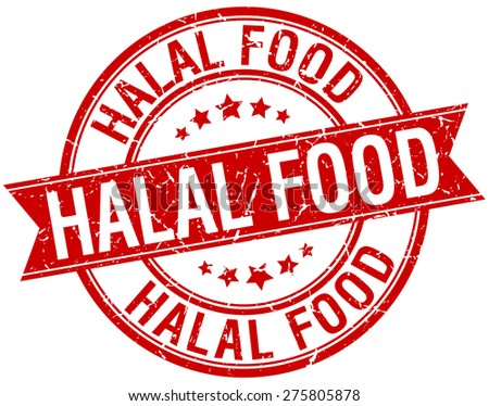 halal food grunge retro red isolated ribbon stamp - stock vector