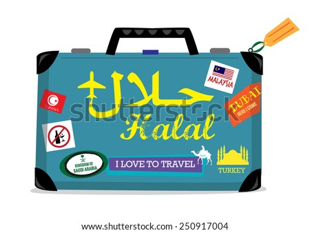 Halal Tourism concept. Baggage with stickers of countries offering Halal Tours for Muslims who abide Sharia rules - stock vector