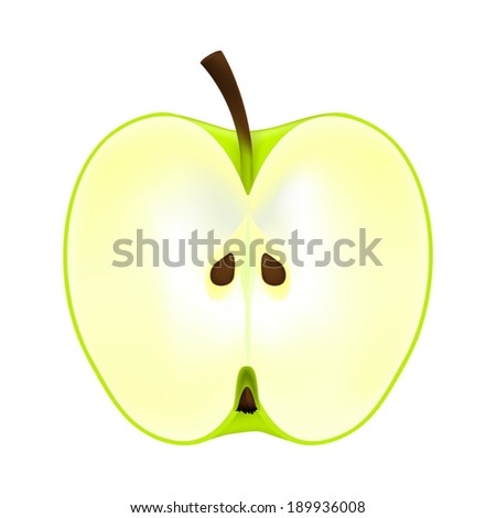 half an apple on a white background - stock vector