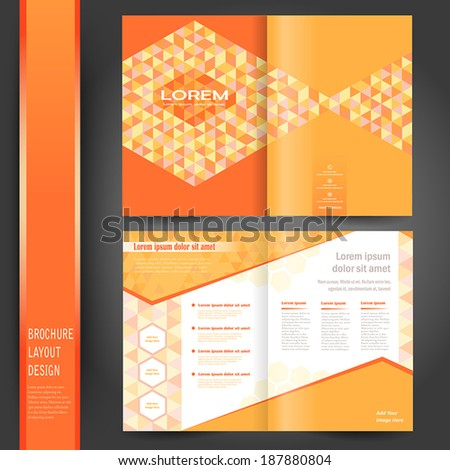 half fold business brochure template with orange - stock vector