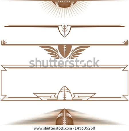 Half-Football Banners - stock vector