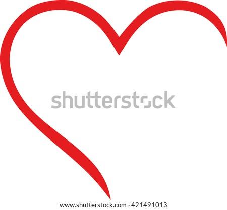 Half Heart Outline Stock Vector 421491013 Shutterstock