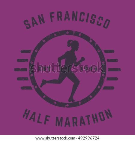 Marathon running creative banner sport vector stock vector for Marathon t shirt printing