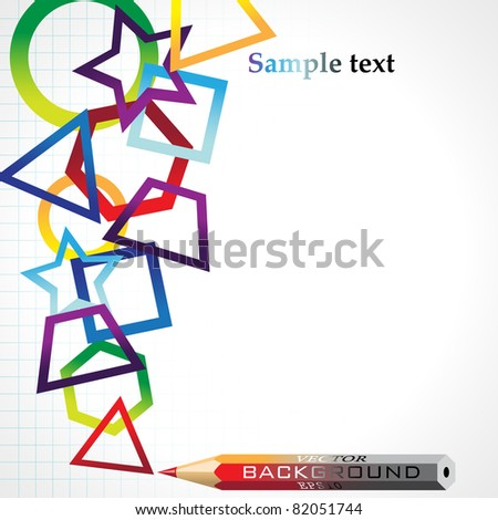 Half monochrome geometric background, vector illustration, eps10; there are four layers: 1-background, 2- figures,  3- pencil, 4- text. - stock vector