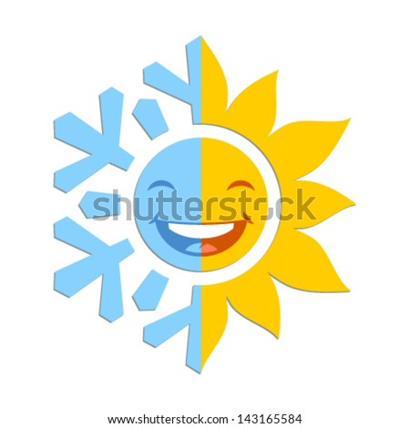 Half of a snowflake and half of a sun
