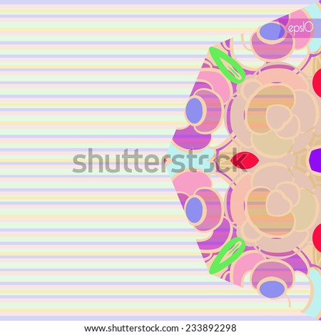 Half of circular floral ornament with transparent on a striped background.