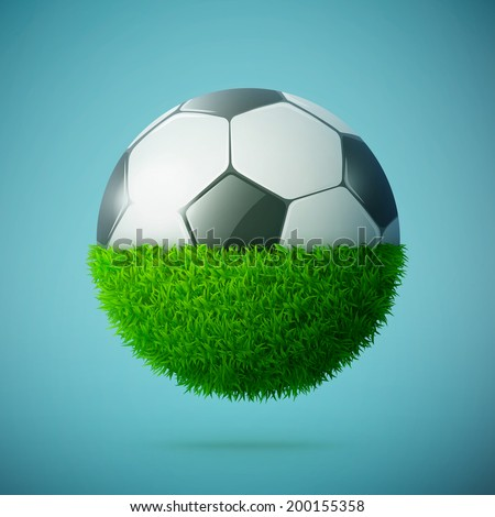 Half of green grass sphere with soccer ball concept eps10 vector illustration - stock vector