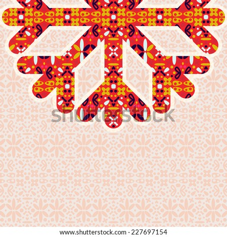 Half of Vintage Colorful Snowflake with Copy Space. Invitation Card for Christmas Design - stock vector
