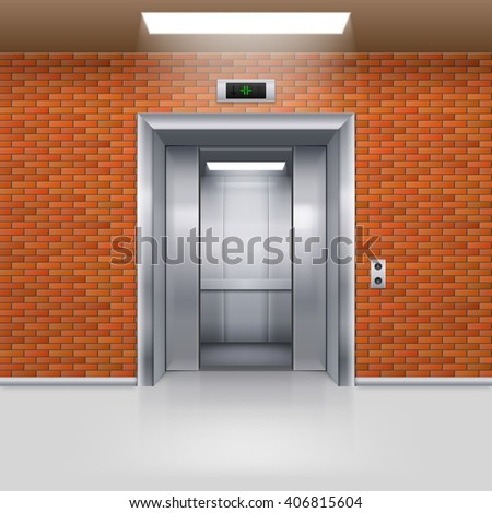 Half Open Metal Elevator Door in a Brick Wall - stock vector
