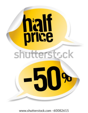 Half price sale stickers set in form of speech bubbles. - stock vector