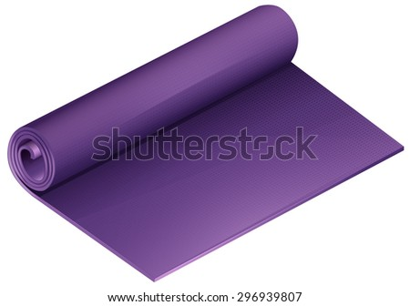Half rolled purple yoga mat on a white background