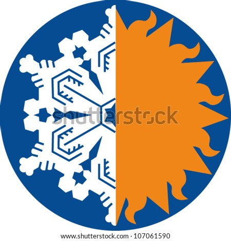 Half snowflake, half sunburst icon - stock vector