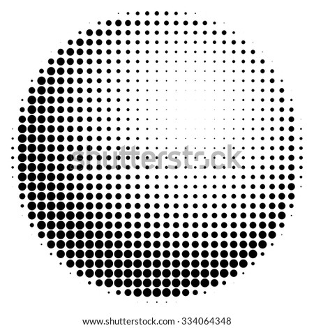 Halftone abstract black dotted three-dimensional sphere - stock vector