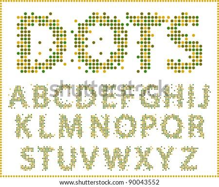 Halftone alphabet. Full set . - stock vector