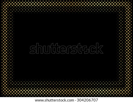 Halftone background.Dotted abstract golden frame.Vector illustration.