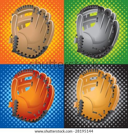 halftone baseball gloves - stock vector