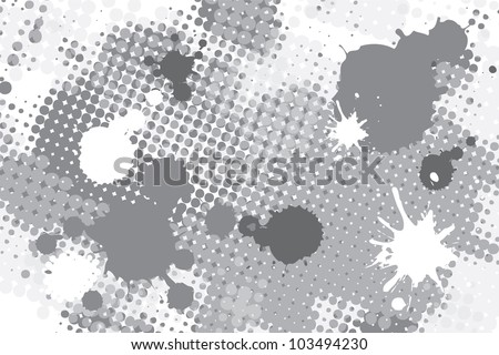 halftone black and white spot grunge vector background