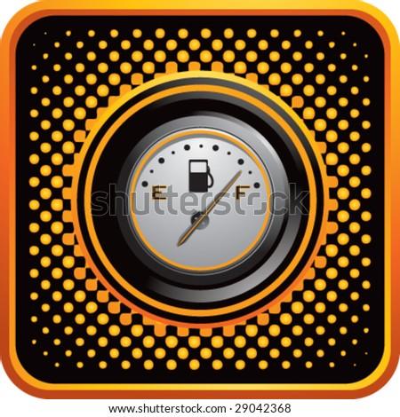 halftone button fuel gauge - stock vector