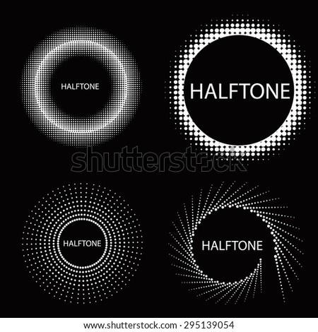 Halftone circle effect set - stock vector