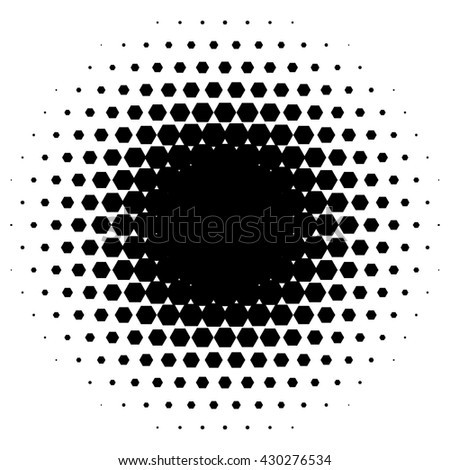 Halftone circle made of hexagons