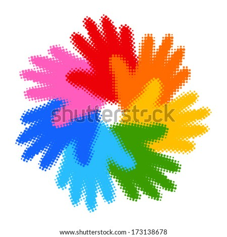 Halftone Colorful Hand Print icon, vector illustration  - stock vector