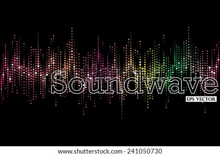 Halftone colorful sound wave pattern modern music design element - stock vector