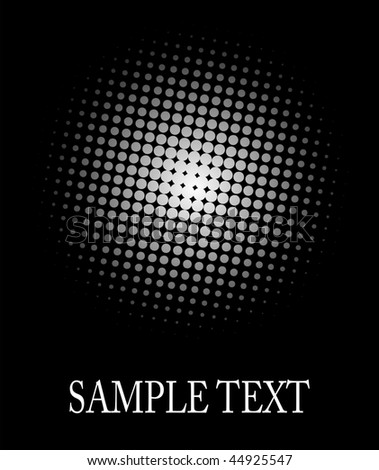 Halftone, dot pattern white sphere over black good as background, editable vector. - stock vector