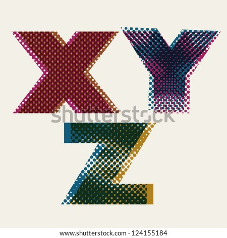 Halftone dots font, dirty grunge color pixels print texture letters, vector alphabet, letters X Y Z. - stock vector