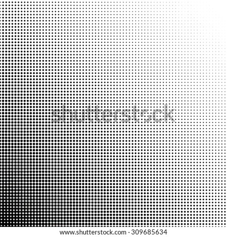 Halftone dots gradient point at 45 degrees - stock vector