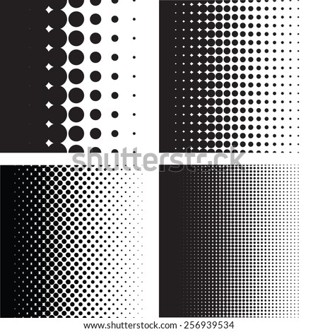 Halftone dots pattern gradient set in vector format - stock vector