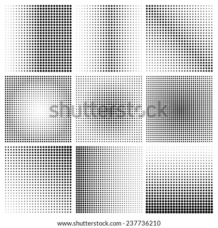 halftone dots pattern set in vector format - stock vector