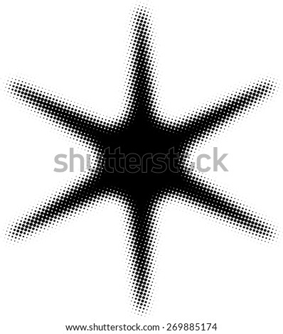Halftone Dots Sparkle . Vector Star Icon Logo .Blurred  Star Shape for your Design . - stock vector