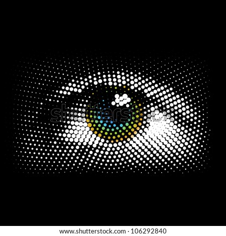 Halftone eye, vector
