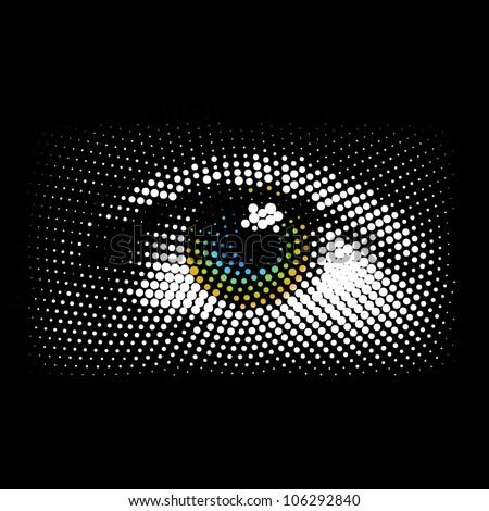 Halftone eye, vector - stock vector